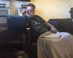 Nick doing School Work