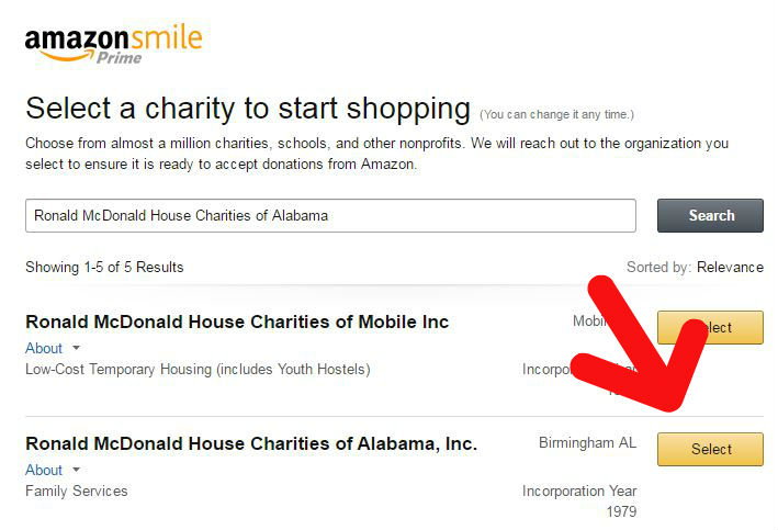 Amazon Smile Select a Charity