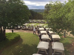 Golf carts lined up before the classic starts
