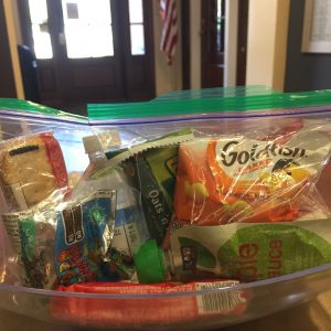 Grab and go snack bags in a bowl