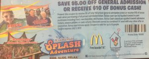 2017 McDonald's Alabama Splash Adventure coupon