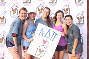 ADPi Run For Ronald 5K runners with ADPi loves RMHCA poster