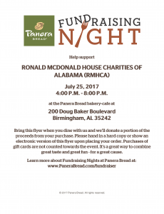 RMHCA will be at Panera on Doug Baker Blvd. July 25th. Show your cashier this flyer for a percentage to go back to RMHCA!