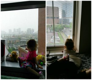 Lilly looking at RMHCA from the hospital and another picture of Lilly looking at the hospital from her RMHCA room.