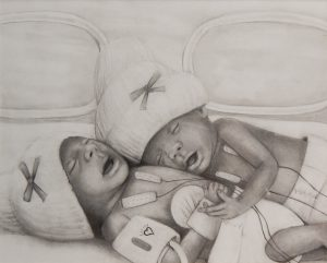 Another NICU mother drew this special piece of E'mari and E'mani Harris.