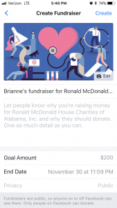 Step 5: Complete your fundraiser goal and time limit and hit create!