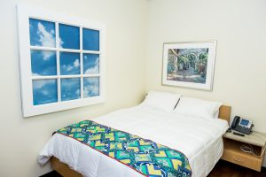 There are three private sleeping rooms at the Family Room.