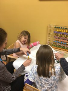 Cate hard at work in constraint therapy. Source: Capps family