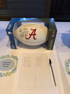 This football signed by Nick Saban was the most sought-after auction item!