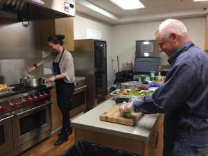 La-Z-Boy employee Fannie and co-owner Brian Morris team up to prepare dinner.