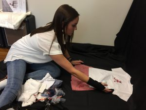Kylie Wright helping with Gala preparations