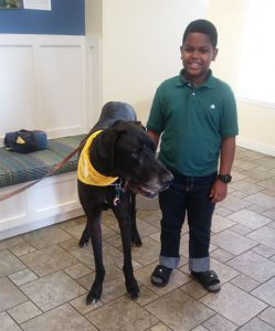 Braxton and Duke the Hand in Paw therapy dog. Source: Family photo