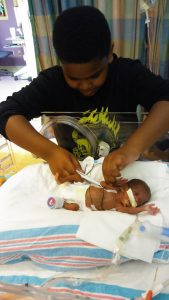 Braxton visits Marie in the hospital. Source: Family photo