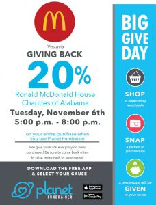 Big Give Day November 6 Vestavia McDonald's