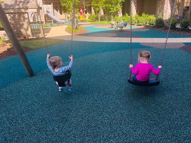 Ava and Skye swinging. Source: Family