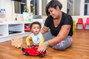 Esha plays with Quinlavan.