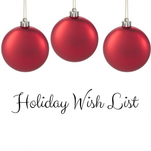 Holiday Wish List with ornaments graphic