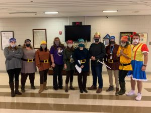 Teachers dress as Snow White and the 7 Dwarves