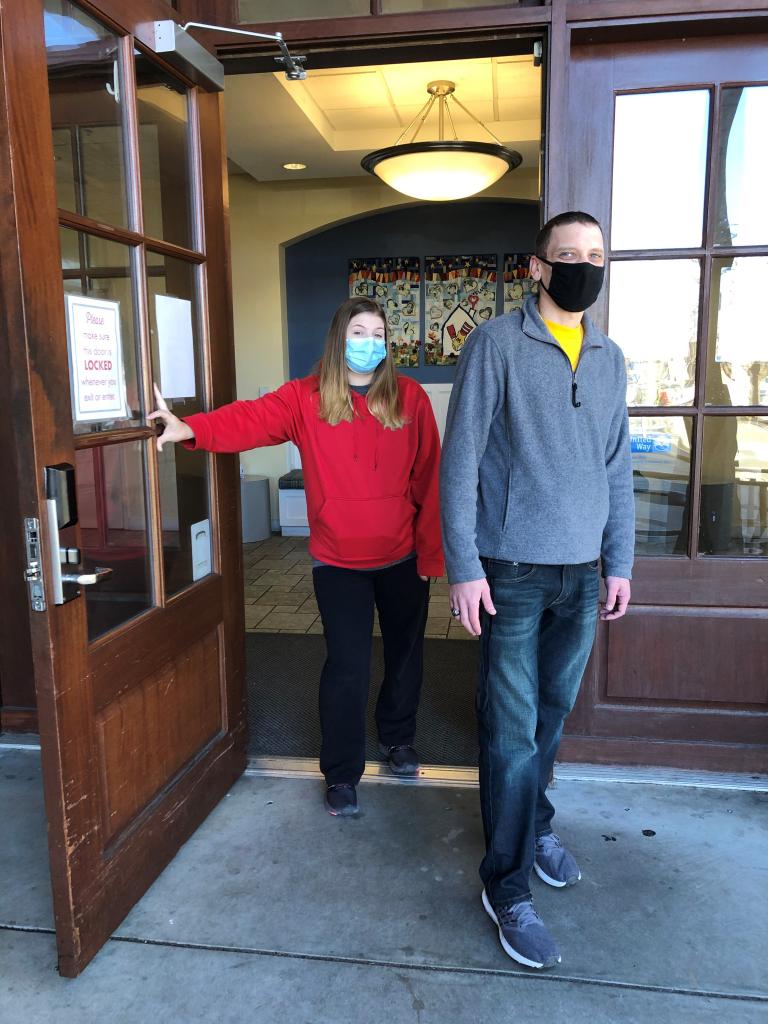 Ashleigh and Jacob Livingston walk through the door