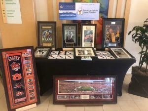 Table display with items for auction