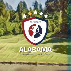 Image of a golf course with a logo of a person running with a golf bag and words Alabama SpeedGolf Open