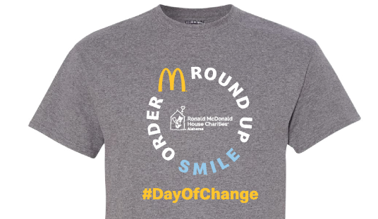 Gray t-shirt with the words Order Roundup Smile hashtag Day of Change