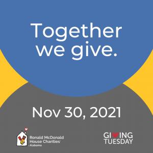 Together we give. Nov 30 2021 RMHCA logo Giving Tuesday logo