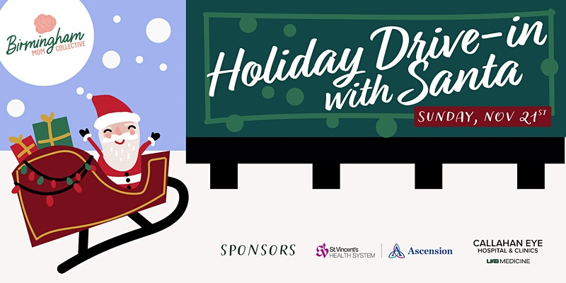 Graphic of Santa in a sleigh next to a billboard that reads Holiday Drive In with Santa