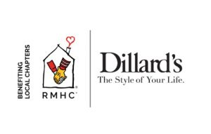 Image with Dillard's logo and RMHC logo with the words benefiting local chapters